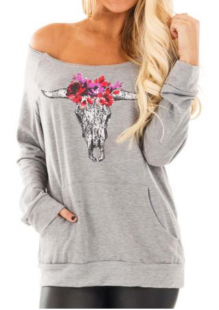 Cattle Head Printed Kangaroo Pocket Slash Neck Sweatshirt Cattle