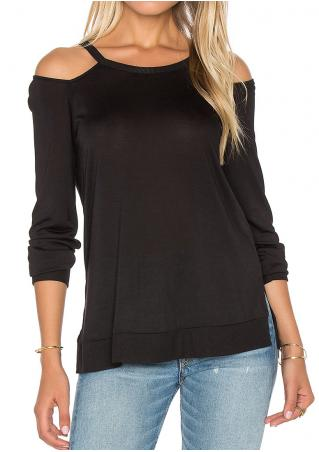 Solid Side Slit Off Shoulder Blouse