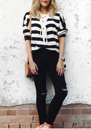 Striped Lace Up V-Neck Blouse