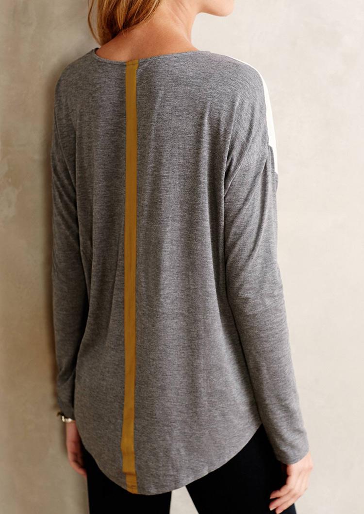Color Block Pocket Long Sleeve Blouse Fairyseason