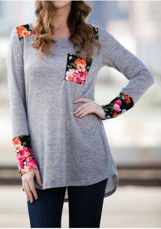 Floral Splicing Pocket Long Sleeve Blouse