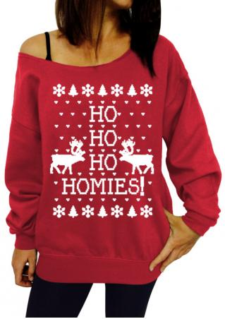 Christmas Letter Off Shoulder Casual Sweatshirt