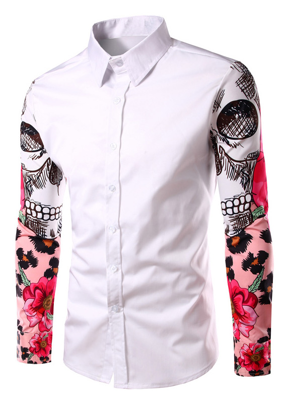 Image of Floral Splicing Long Sleeve Shirt