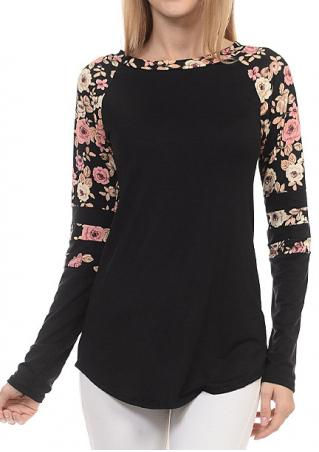 Floral Splicing Long Sleeve Blouse