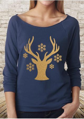 Christmas Reindeer Snowflake Printed T-Shirt Christmas