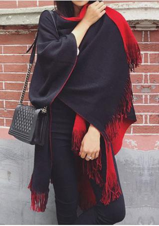 Solid Two Faced Knitted Poncho Shawl Scarf Solid