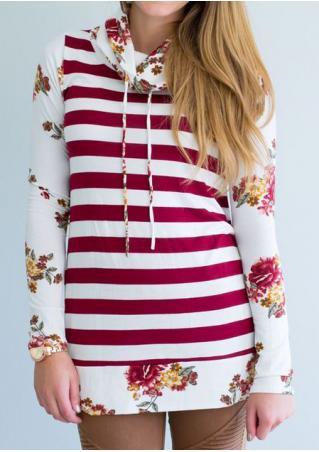 Floral Striped Splicing Long Sleeve Hoodie
