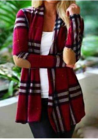 Plaid Elbow Patch Long Sleeve Cardigan
