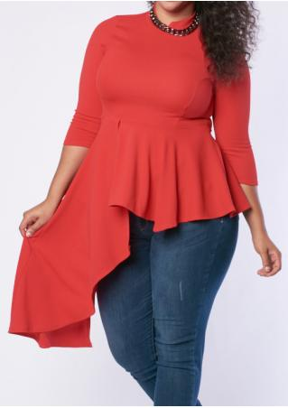 Solid Asymmetric Plus Size Blouse Without Necklace Solid