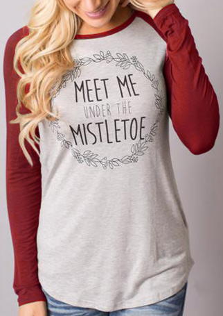 Printed Letter Splicing Casual Long Sleeve T-Shirt 23866