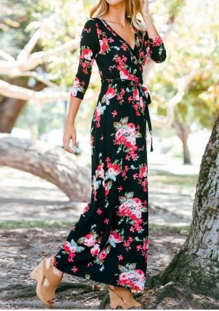 Floral Printed Casual Maxi Dress