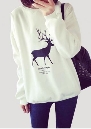 Christmas Reindeer Printed Casual Sweatshirt