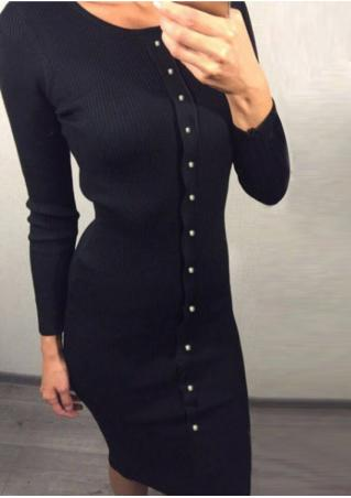 Solid Button Long Sleeve Dress