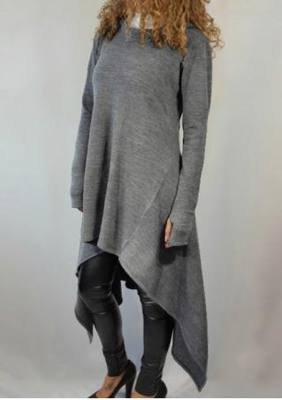 Solid Asymmetric Long Hoodie With Thumbholes Solid