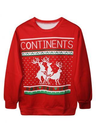 Christmas Letter Reindeer Printed Casual Sweatshirt Christmas