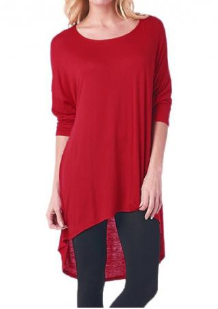 Solid Asymmetric Loose Blouse