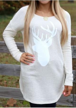 Christmas Reindeer Printed Blouse Without Necklace