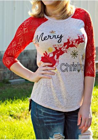 Christmas Reindeer Snowflake Printed Three Quarter Sleeve T-Shirt