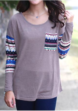 Printed Splicing Pocket Long Sleeve Blouse Without Necklace