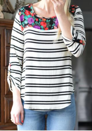 Striped Floral Splicing Tab-Sleeve Blouse