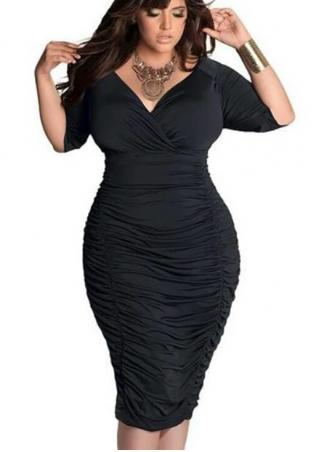 ebec482d006 Solid Ruched Plus Size Bodycon Dress Without Necklace - Fairyseason