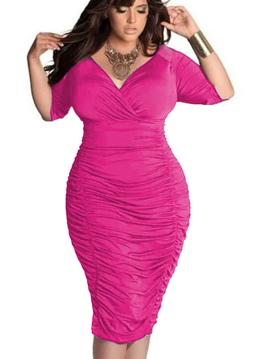 Solid Ruched Plus Size Bodycon Dress Without Necklace