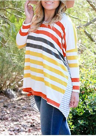 Multicolor Striped Splicing Asymmetric Blouse