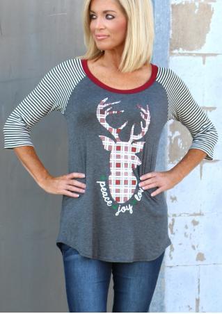 Christmas Reindeer Striped Splicing T-Shirt