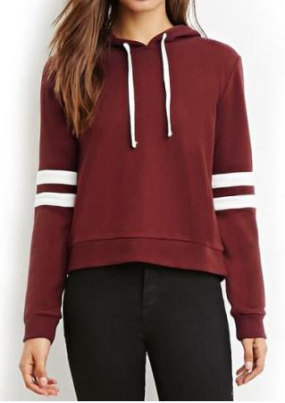 Striped Detail Splicing Drawstring Hoodie