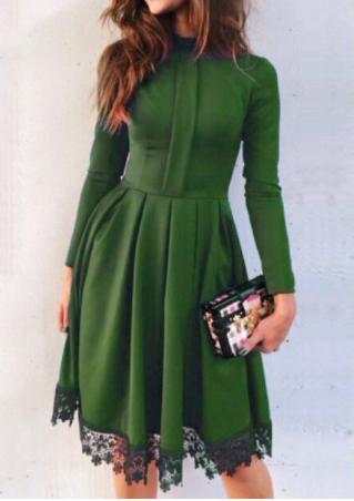 Lace Splicing Pleated Mini Dress