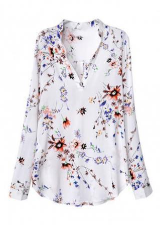 Floral Long Sleeve V-Neck Loose Blouse