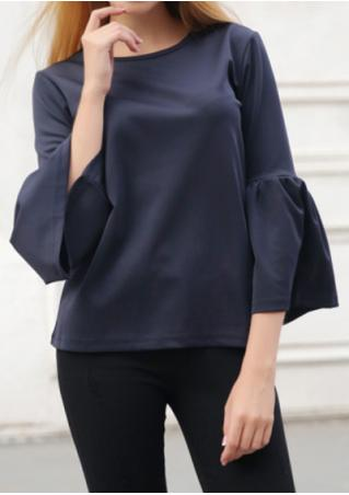 Solid Flare Sleeve O-Neck Blouse