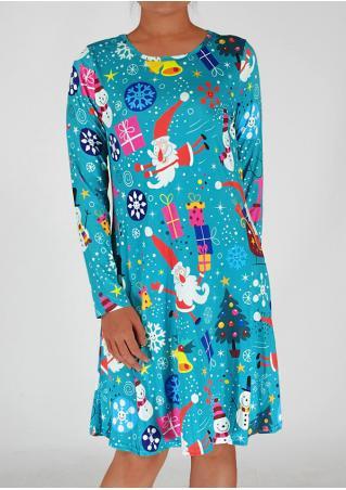 Christmas Cartoon Printed Casual Dress Christmas