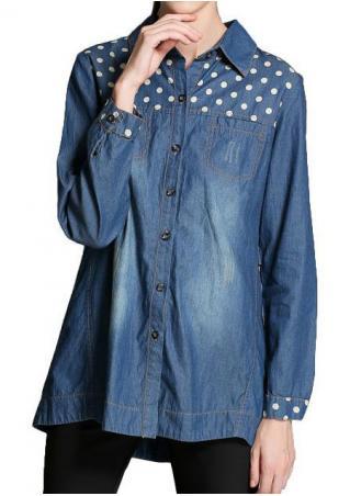 Polka Dot Splicing Button Denim Shirt