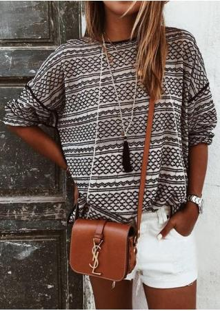 Printed Long Sleeve Loose Blouse Without Necklace