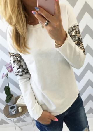 Sequined Splicing Long Sleeve T-Shirt