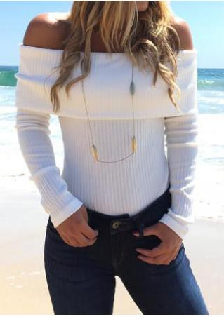 Solid Knitted Slash Neck Bodysuit Without Necklace