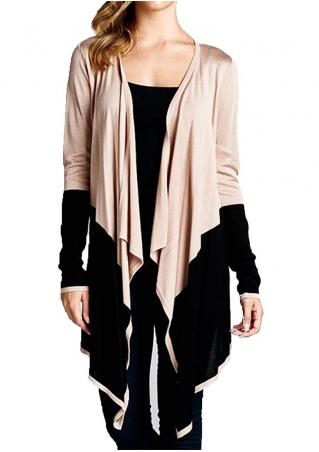 Color Block Splicing Asymmetric Cardigan