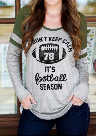 Football Letter Printed Splicing Blouse Without Necklace
