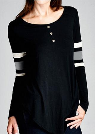 Splicing Front Button Long Sleeve Blouse