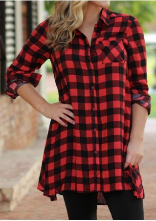 Plaid Button Pocket Shirt Dress