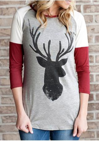 Christmas Reindeer Printed Splicing Blouse