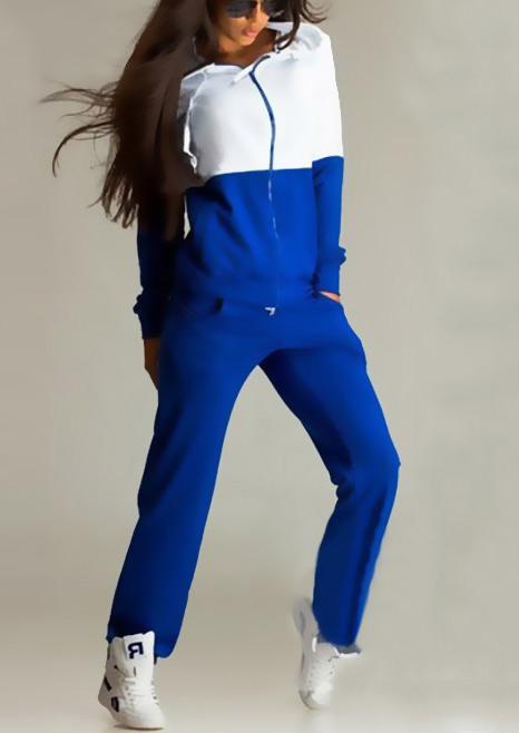 Image of Color Block Zipper Hoodie and Pants Set