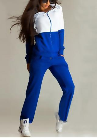Color Block Zipper Hoodie and Pants Set