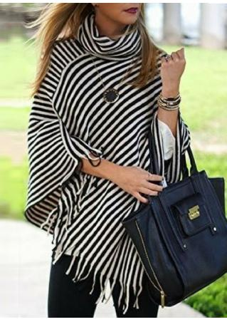 Striped Tassel Poncho Blouse Without Necklace