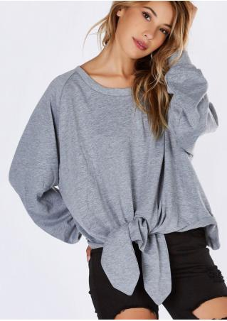 Solid Waist Tie Loose Blouse