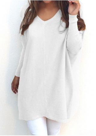 Solid V-Neck Long Sleeve Loose Blouse