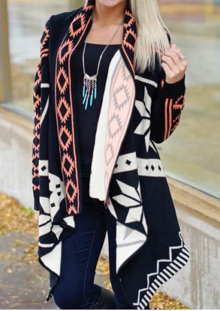 Geometric Printed Asymmetric Cardigan Without Necklace