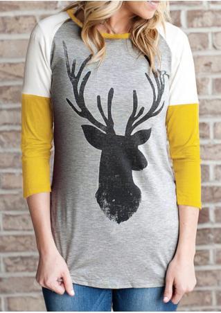 Christmas Reindeer Printed Splicing O-Neck T-Shirt