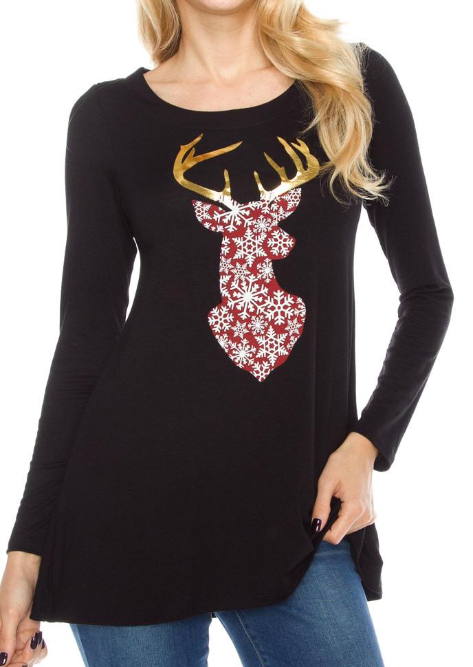 Christmas Reindeer Long Sleeve Blouse Fairyseason